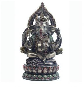 Ganesh~Enthic Large Lord Ganesh Figure Bronze Painted - 21.5cm~By Folio Gothic Hippy~NEM4195